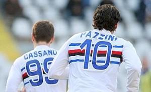 20090322 - TORINO - SPO - CALCIO: SERIE A; TORINO-SAMPDORIA. La coppia d'attacco della Sampdoria Antonio Cassano (S) e Giampaolo Pazzini (D) durante la partita di SERIE A tra il Torino e la Sampdoria giocata nello stadio Olimpico di Torino. ANSA/MARCO GIGLIO/DRN