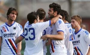 Cittadella (Padova), 24/03/2012 Serie B - 32.a giornata / Cittadella-Sampdoria Gol Sampdoria (1-2): Graziano Pellé esulta con Citadin Martins Eder
